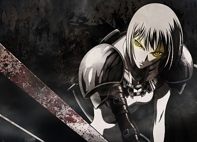 blood, Claymore, armor, Clare, short hair, anime, capes, anime girls, swords - related desktop wallpaper