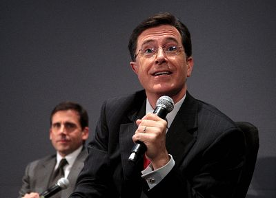 Stephen Colbert, Steve Carell, microphones - random desktop wallpaper