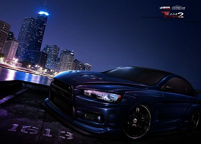 cityscapes, pink, cars, purple, tuning, wheels, coupe, rims, Mitsubishi Evo - related desktop wallpaper
