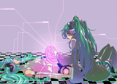 headphones, Vocaloid, Hatsune Miku, skirts, long hair, thigh highs, green hair, twintails, lying down, aqua hair, Miku Append, anime girls, Vocaloid Append - desktop wallpaper