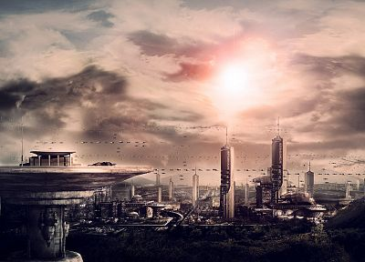 cityscapes, futuristic, science fiction, artwork, modern - desktop wallpaper