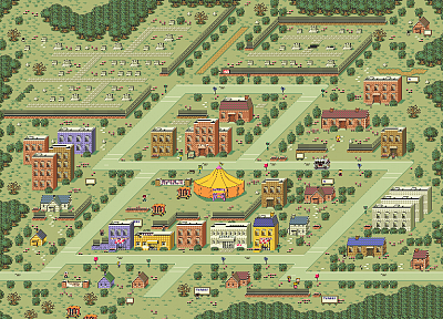 towns, Earthbound, graveyards, pixel art - related desktop wallpaper