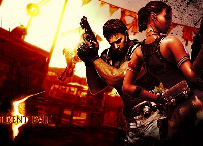 video games, Resident Evil, Chris Redfield, Sheva Alomar - related desktop wallpaper