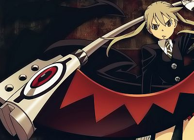 Soul Eater, blondes, scythe, brown eyes, Albarn Maka, twintails - desktop wallpaper