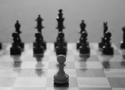 chess, grayscale, monochrome, chess pieces - desktop wallpaper