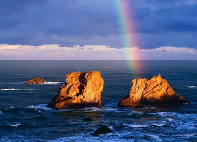 ocean, rocks, rainbows, skyscapes - related desktop wallpaper