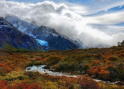 mountains, clouds, nature, valleys, Argentina, streams, Andes - random desktop wallpaper