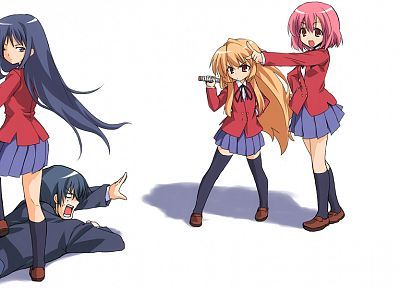 school uniforms, Aisaka Taiga, Kushieda Minori, Toradora, Kawashima Ami, Takasu Ryuuji, simple background - desktop wallpaper