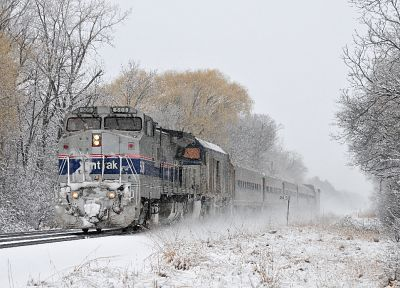 snow, trains, railroad tracks, locomotives, Amtrak - random desktop wallpaper