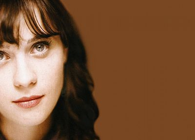 women, close-up, eyes, Zooey Deschanel, faces - desktop wallpaper