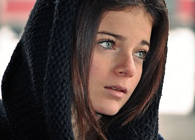 brunettes, women, blue eyes, scarfs - related desktop wallpaper