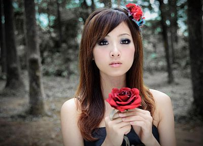 brunettes, women, forests, Asians, anime, roses, Mikako Zhang Kaijie - related desktop wallpaper