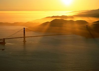 landscapes, silhouettes, bridges, Golden Gate Bridge, sunlight - related desktop wallpaper