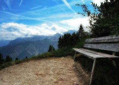 mountains, landscapes, nature, bench - random desktop wallpaper