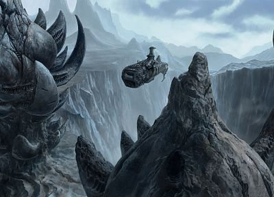 mountains, artistic, spaceships, digital art, science fiction, vehicles - desktop wallpaper