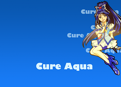 Pretty Cure, simple background, Cure Aqua - random desktop wallpaper