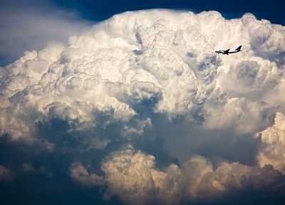 clouds, aircraft, cumulonimbus, Airbus A320 - duplicate desktop wallpaper