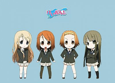 K-ON!, school uniforms, pantyhose, Hirasawa Yui, Akiyama Mio, Tainaka Ritsu, Kotobuki Tsumugi, simple background, knee socks, kakifly - related desktop wallpaper