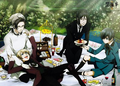 brunettes, blondes, food, outdoors, Kuroshitsuji, Ciel Phantomhive, Sebastian Michaelis, wine, Alois Trancy, anime, anime boys, Claude Faustus, aprons, picnic, cakes - desktop wallpaper