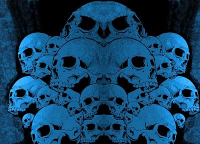 skulls, blue - random desktop wallpaper