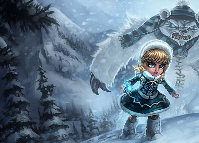 video games, blue, League of Legends, fantasy art, Tibbers, Annie the Dark Child - desktop wallpaper