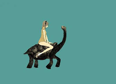 women, turtles, blue background, somefield, Barnaby Ward - desktop wallpaper