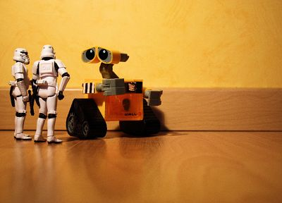 Star Wars, robots, stormtroopers, Wall-E, miniature, figurines, action figures, puppets - desktop wallpaper