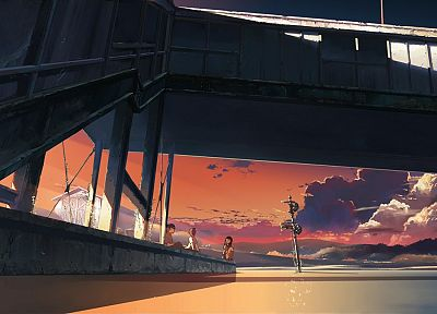 water, bridges, Makoto Shinkai, The Place Promised in Our Early Days - related desktop wallpaper