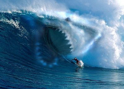 waves, surfing, sharks, jaws - random desktop wallpaper
