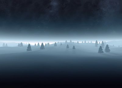 landscapes, nature, snow, trees - duplicate desktop wallpaper