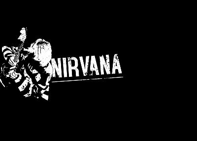 Nirvana, Kurt Cobain, black background - desktop wallpaper