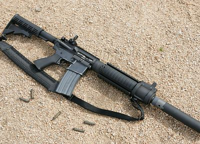 rifles, sand, guns, military, weapons, AR-15, silencer - desktop wallpaper