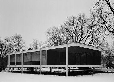 architecture, houses, buildings, farmhouse, Farnsworth House, Mies Van Der Rohe - random desktop wallpaper