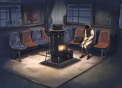 winter, smoke, Makoto Shinkai, chairs, 5 Centimeters Per Second - random desktop wallpaper