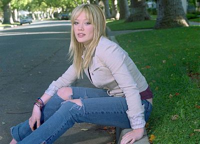 jeans, trees, grass, Hilary Duff - desktop wallpaper