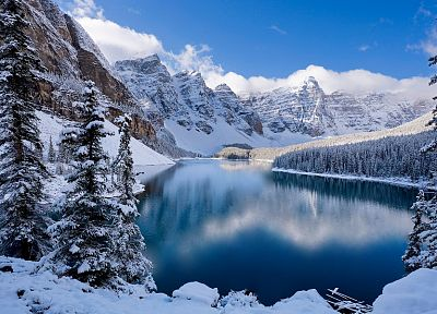 mountains, landscapes, winter, snow, trees, reflections - desktop wallpaper