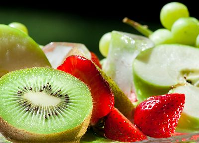 fruits, food, kiwi, strawberries, apples - random desktop wallpaper