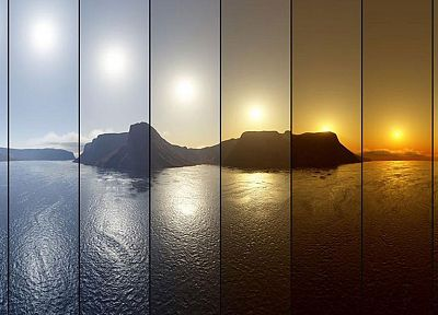 sunset, ocean, panoramic - desktop wallpaper