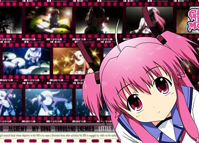 text, Angel Beats!, pink hair, guitars, Yui (Angel Beats) - desktop wallpaper