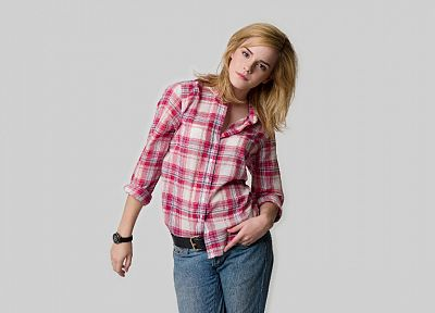 blondes, women, jeans, Emma Watson, pink, actress, shirts, watches - desktop wallpaper