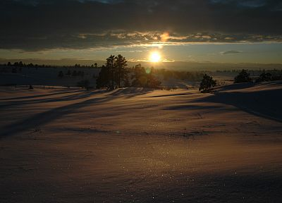 sunset, landscapes, nature, winter, snow - desktop wallpaper