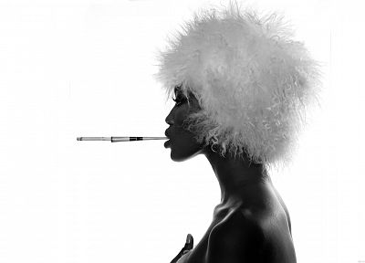 women, grayscale, Naomi Campbell, cigarettes, profile - desktop wallpaper