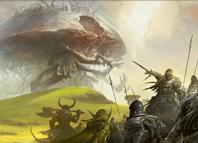 fantasy, Magic: The Gathering, weapons, armor, creatures, artwork, eldrazi, warriors - related desktop wallpaper
