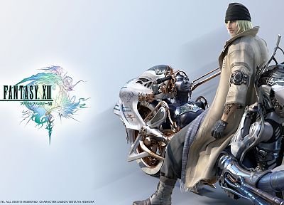 Final Fantasy XIII, white background, Snow Villiers, Shiva bike - desktop wallpaper