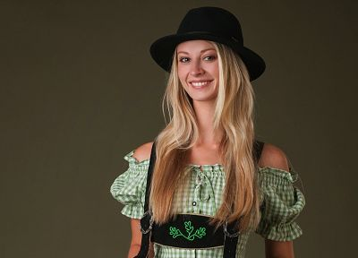 blondes, boobs, women, models, Femjoy magazine, smiling, hats, natural boobs, Carisha, lederhosen, long neck, clothes - desktop wallpaper
