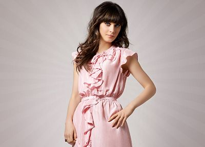 brunettes, women, Zooey Deschanel, pink dress - desktop wallpaper