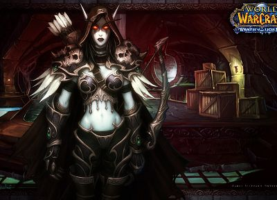 women, World of Warcraft, armor, elves, sylvanas, artwork, arrows, World of Warcraft: Wrath of the Lich King, bow (weapon) - related desktop wallpaper
