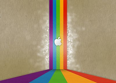 Apple Inc., iMac, rainbows, logos - desktop wallpaper