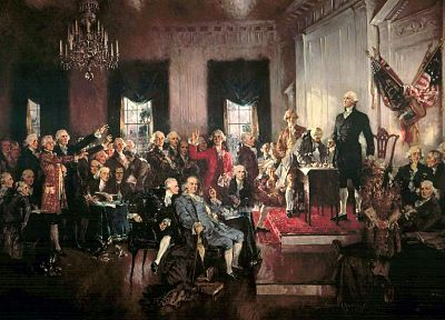 paintings, USA, artwork, George Washington, Benjamin Franklin, constitution, Signing - desktop wallpaper