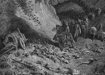 war, dead, grayscale, skeletons, Gustave Dore, artwork, drawings, bones, Draws - related desktop wallpaper